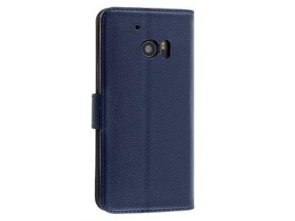 Premium Leather Wallet Case for HTC 10 - Dark Blue Leather Wallet Case
