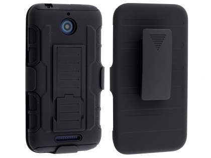 Rugged Case with Holster Belt Clip for HTC Desire 510 - Classic Black Impact Case