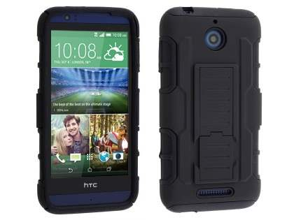 Rugged Case with Holster Belt Clip for HTC Desire 510 - Classic Black