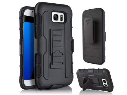 Rugged Case with Holster Belt Clip for Samsung Galaxy S7 edge - Classic Black Impact Case