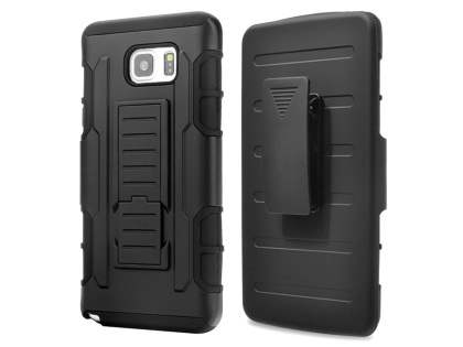 Rugged Case with Holster Belt Clip for Samsung Galaxy Note 5 - Classic Black Impact Case