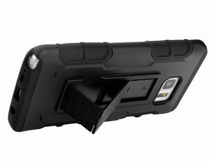Rugged Case with Holster Belt Clip for Samsung Galaxy Note 5 - Classic Black