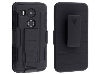 Rugged Case with Holster Belt Clip for LG Nexus 5X - Classic Black Impact Case