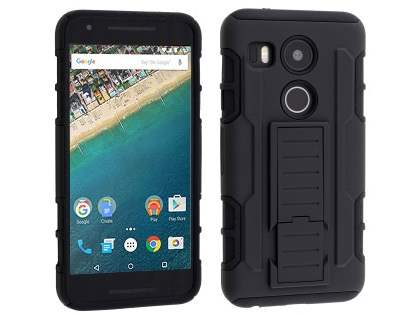 Rugged Case with Holster Belt Clip for LG Nexus 5X - Classic Black