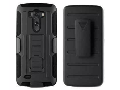 Rugged Case with Holster Belt Clip for LG G3 - Classic Black Impact Case