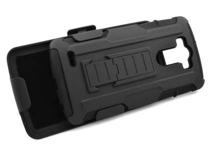 Rugged Case with Holster Belt Clip for LG G4 - Classic Black