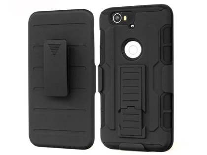 Rugged Case with Holster Belt Clip for Huawei Nexus 6P - Classic Black Impact Case