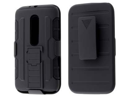 Rugged Case with Holster Belt Clip for Motorola Moto G 3rd Gen - Classic Black Impact Case