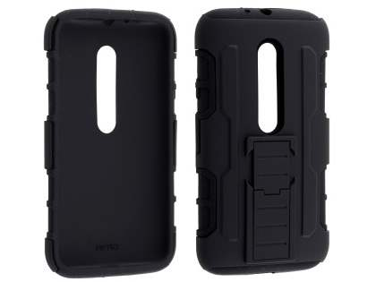 Rugged Case with Holster Belt Clip for Motorola Moto G 3rd Gen - Classic Black