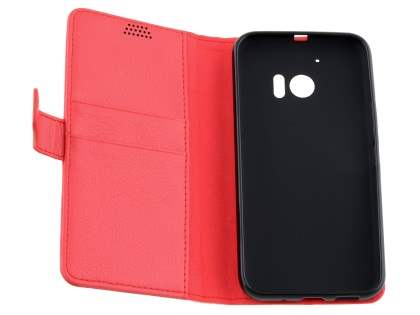 Slim Synthetic Leather Wallet Case with Stand for HTC 10 - Red
