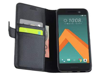 HTC 10 Slim Synthetic Leather Wallet Case with Stand - Classic Black