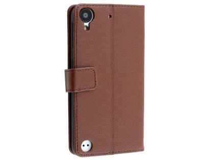 HTC Desire 530 Slim Synthetic Leather Wallet Case with Stand - Brown Leather Wallet Case