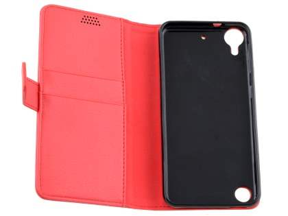 HTC Desire 530 Slim Synthetic Leather Wallet Case with Stand - Red