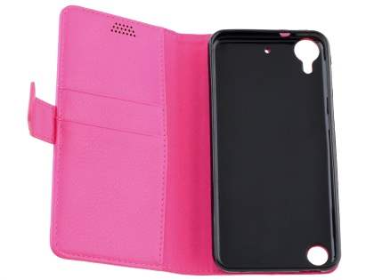 HTC Desire 530 Slim Synthetic Leather Wallet Case with Stand - Pink
