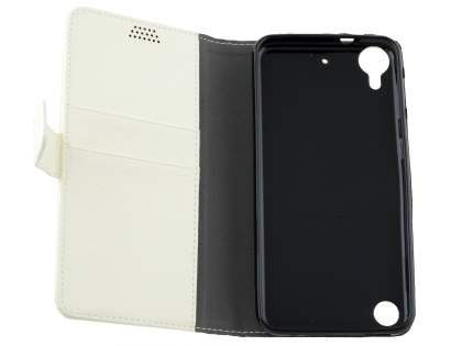 Slim Synthetic Leather Wallet Case with Stand for HTC Desire 530 - Pearl White