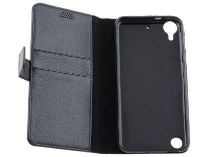 HTC Desire 530 Slim Synthetic Leather Wallet Case with Stand - Classic Black