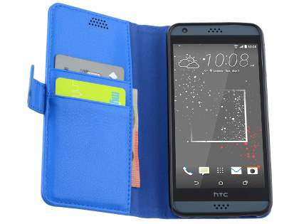 HTC Desire 530 Slim Synthetic Leather Wallet Case with Stand - Blue