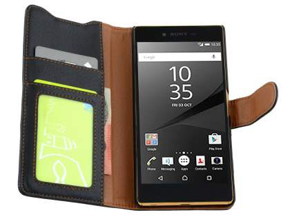 Sony Xperia Z5 Premium Slim Synthetic Leather Wallet Case with Stand - Classic Black