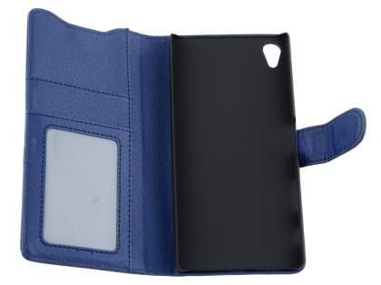 Sony Xperia Z5 Premium Slim Synthetic Leather Wallet Case with Stand - Dark Blue
