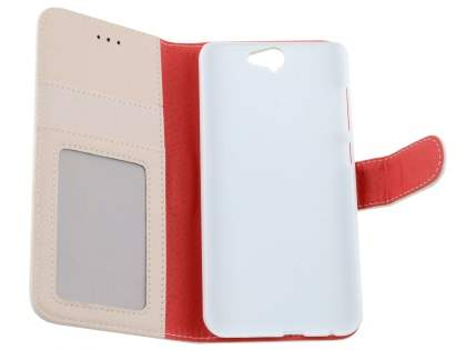 HTC Telstra Signature Premium Synthetic Leather Wallet Case with Stand - Pearl White