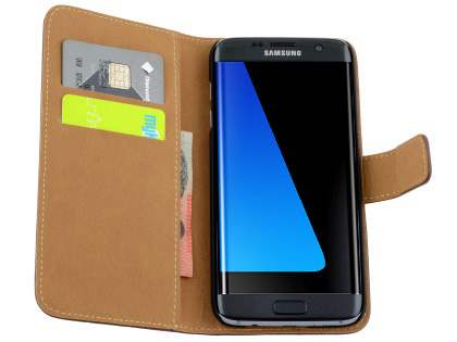 Samsung Galaxy S7 edge Genuine Leather Wallet Case with Stand - Classic Black