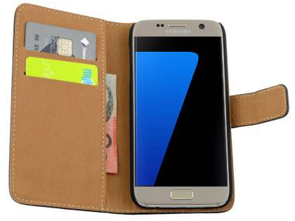 Samsung Galaxy S7 Genuine Leather Wallet Case with Stand - White