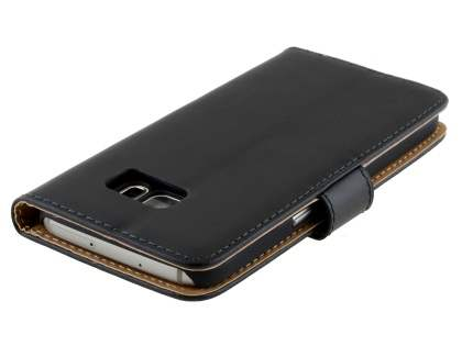 Genuine Leather Wallet Case with Stand for Samsung Galaxy S7 - Classic Black