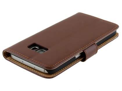 Samsung Galaxy S7 Genuine Leather Wallet Case with Stand - Brown