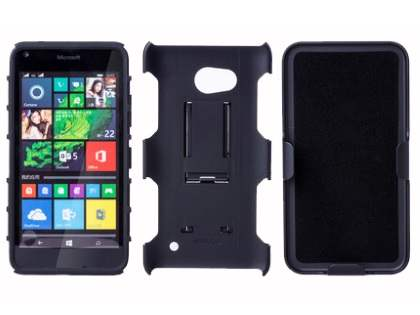Rugged Case with Holster Belt Clip for Microsoft Lumia 640 - Classic Black