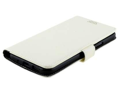 HTC 10 Slim Synthetic Leather Wallet Case with Stand - Pearl White