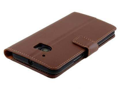 HTC 10 Slim Synthetic Leather Wallet Case with Stand - Brown