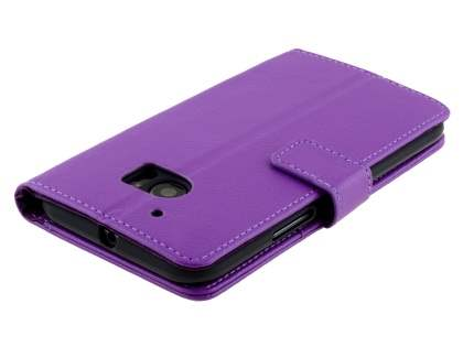 Slim Synthetic Leather Wallet Case with Stand for HTC 10 - Purple