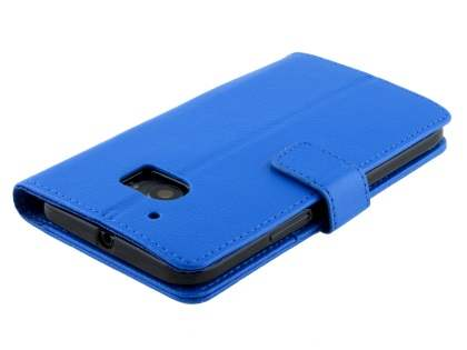 Slim Synthetic Leather Wallet Case with Stand for HTC 10 - Blue