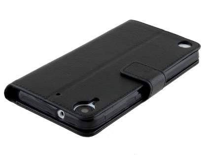 Slim Synthetic Leather Wallet Case with Stand for HTC Desire 530 - Classic Black