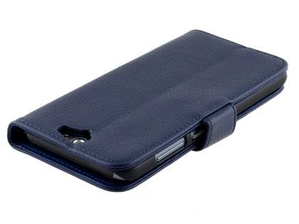HTC Telstra Signature Premium Synthetic Leather Wallet Case with Stand - Dark Blue