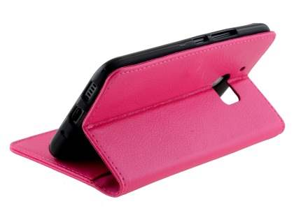 HTC 10 Slim Synthetic Leather Wallet Case with Stand - Pink