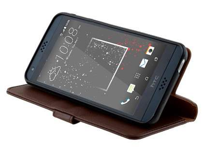 Slim Synthetic Leather Wallet Case with Stand for HTC Desire 530 - Brown