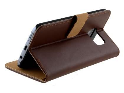 Genuine Leather Wallet Case with Stand for Samsung Galaxy S7 edge - Brown