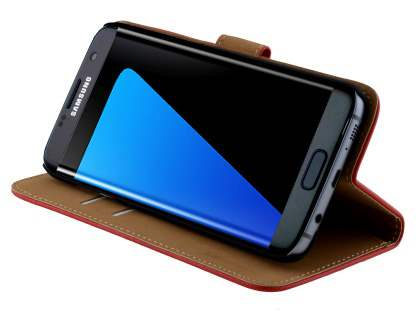Genuine Leather Wallet Case with Stand for Samsung Galaxy S7 edge - Red