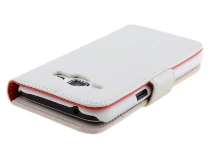 Samsung Galaxy J1 (2016) Synthetic Leather Wallet Case with Stand - Pearl White