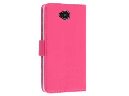 Slim Synthetic Leather Wallet Case with Stand for Microsoft Lumia 650 - Pink Leather Wallet Case