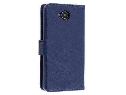 Slim Synthetic Leather Wallet Case with Stand for Microsoft Lumia 650 - Dark Blue Leather Wallet Case