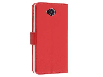 Slim Synthetic Leather Wallet Case with Stand for Microsoft Lumia 650 - Red Leather Wallet Case