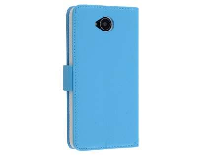 Slim Synthetic Leather Wallet Case with Stand for Microsoft Lumia 650 - Sky Blue Leather Wallet Case