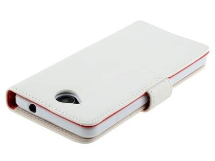 Slim Synthetic Leather Wallet Case with Stand for Microsoft Lumia 650 - Pearl White