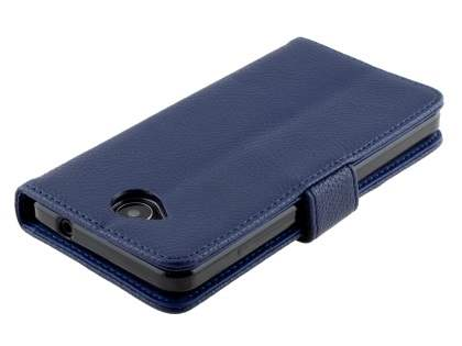 Slim Synthetic Leather Wallet Case with Stand for Microsoft Lumia 650 - Dark Blue