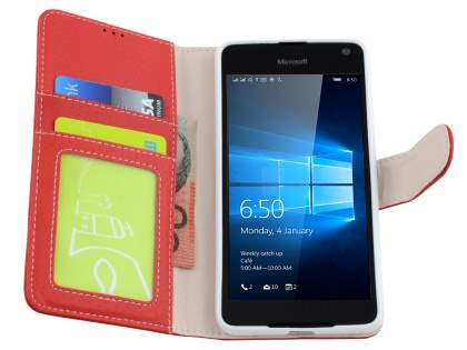 Slim Synthetic Leather Wallet Case with Stand for Microsoft Lumia 650 - Red