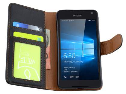 Slim Synthetic Leather Wallet Case with Stand for Microsoft Lumia 650 - Classic Black