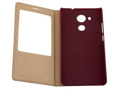 Premium Leather Smart View Case With Stand for Huawei Mate 8 - Burgundy