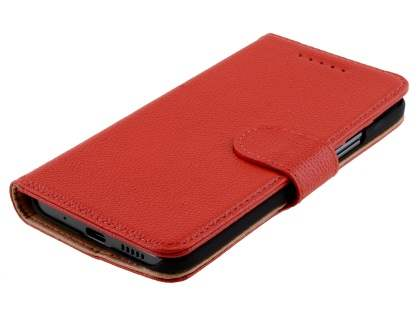 Premium Leather Wallet Case for HTC 10 - Red